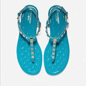 Cole Haan turquoise patent tali mini bow sandal